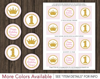 "Princess Birthday Cupcake Toppers - Printable Pink and Gold Birthday 2"" Cupcake Toppers"
