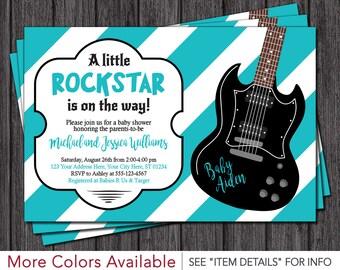 Rockstar Baby Shower Invitations - Rock a Bye Baby Shower Invitation