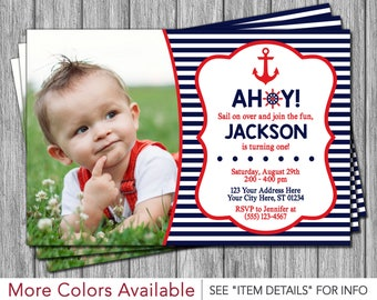 Nautical Birthday Invitation - Navy and Red