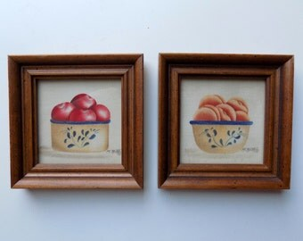 80s Wall Decor, Kitchen, Fruit, Small, Framed Pictures, Paintings, Water Color, 1980s, Country Kitchen, Vintage Decor, Apples, Peaches