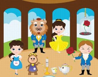 Princess Digital Clipart, Princess Clipart, Beauty Beast Clipart, Belle Clipart, Princess Belle, Fairytale Clipart