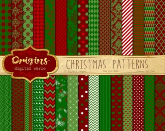 70% OFF Christmas Digital Paper, red and green digital paper, holiday patterns backgrounds, scrapbook paper instant download commercial use