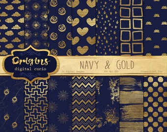 Navy Blue and Gold Digital paper, gold paint backgrounds scrapbook paper, gold scrapbook embellishments instant download commercial use
