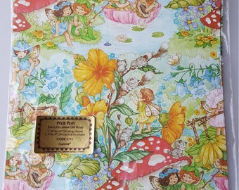 1980 Current Pixie Play gift wrap cute spring fairies by Pam Pellier partial pack wrapping crafting paper