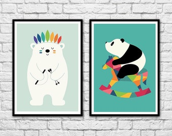 2 Art-Posters 30 x 40 cm for kids - Baby Panda and white bear