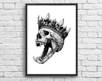 Art-Poster 50 x 70 cm - King Dog Skullhead