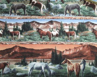 Wild Horses Fabric - Kevin Daniel for Wilmington Prints SSI - 1 5/8 Yards Only