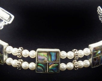 Abalone Shell Bracelet with Swarovski Crystals and Magnetic Clasp
