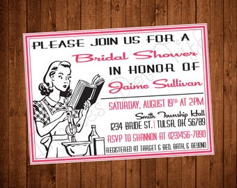 Vintage Housewife Bridal Shower Invite (Printable)