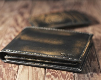 Jack DOUBLE ID Bifold Wallet•BLACK•Personalized•Men's Leather Wallet•Groomsmen Gift•Mens Wallet•Anniversary Gift•Bifold