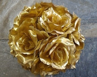Gold Rose Flower Ball Pomander Wedding decoration Ball Silk Rose Kissing Ball Faux Flowers/Mutiple sizes/Aisle decor/ Centerpiece