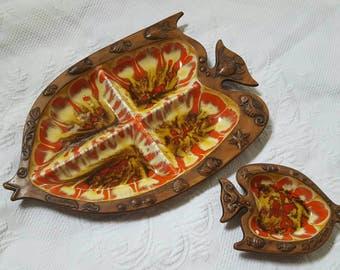 Vintage TREASURE CRAFT Fish serving trays