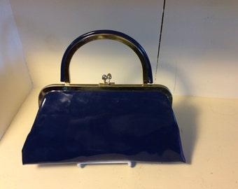 Vintage blue vinyl purse