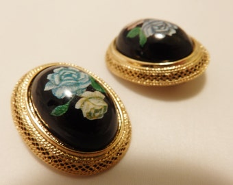 Gold Tone Blue Rose Vintage Clip On Earrings