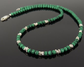 Men's Women Malachite 925 Sterling Silver Necklace Handmade Nugget Beads & Clasp DiyNotion Handmade NK155