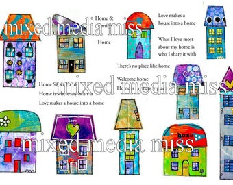 Funky Whimsical Houses 3 - Collage Elements Mixed Media digital download - Art Journal - Scrapbooking
