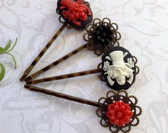 Guns And Roses With Black And Red Daisy Hair Clips