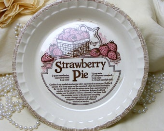 Beautiful China Strawberry Pie Plate With Recipe