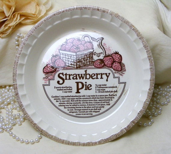 Beautiful Strawberry Pie Plate With Recipe
