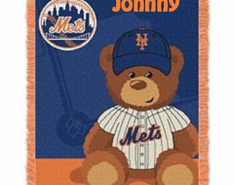 MLB New York Mets Field Baby Bear Throw Blanket - Personalized