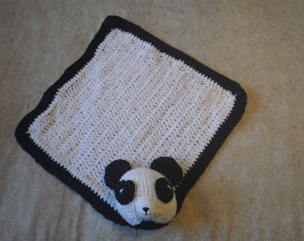 Crocheted Amigurumi Panda Bear blanket/lovey
