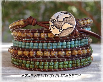 Beaded Wrap Bracelet/ Five Wrap Seed Bead Leather Bracelet/ Seed Bead Bracelet/ Boho Wrap Bracelet/ Gift For Her/  Beaded Leather Wrap.
