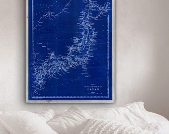 """Map of Japan 1859, Old Japan map, blue or sepia, 4 sizes up to 36x48"""" (90x120 cm) Large vintage Japanese map - Limited Edition of 100"""