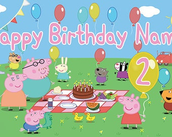 Peppa Pig Birthday Banner (Age in Peppa's Balloon)