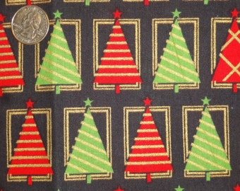 Christmas Black Red Gold Green Trees JoAnn Cotton Quilt Fabric One yard only