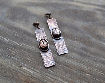 Coffee copper earrings, jewelry for coffee lovers, coffee beans copper-plated, metal coffee beans, copper electroforming