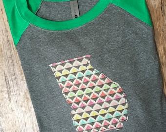 Georgia State Applique and Embroidered Raglan 3/4 Sleeve Baseball Shirt Baseball Tee