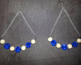 Blue and Beige Earrings