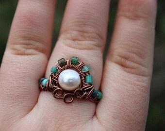 Mermaid freshwater pearl ring