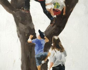 Tree Climbing Painting Tree Climbing Art PRNIT Tree Climbing - Art Print - from original painting by J Coates