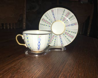 Vintage Adderley Bone China Teacup And Saucer Made In England