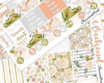 Weekly Planner Sticker Kit / Mini Kit / Blushing Blooms  / Vertical / Weekly Kit