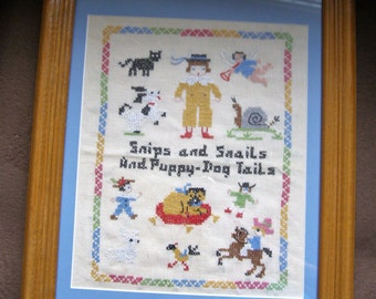 Vintage Snips and Snails and Puppy-Dog Tails Cross Stitch Sampler Framed