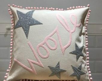 Glitter star pompom personalised pillow