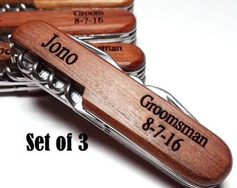 Groomsmen Gift Pocket Knife Set of 3 Personalized Pocket Knives Engraved Groomsman Best Man Usher Groom Bridesmaid Present Wedding Party
