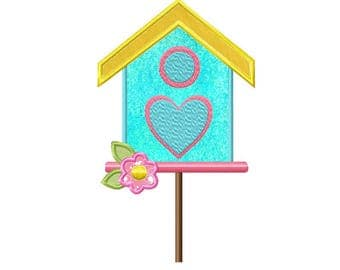 Birdhouse...Instant Download...Applique Machine Embroidery DESIGN NO. 837