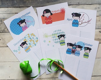 perpetual calendar with kokeshi, Birthday calendar, little gift, girl gift