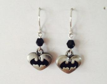 Batman Logo Heart Charm Earrings