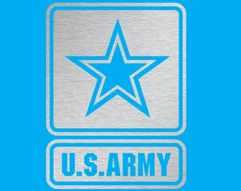 "US Army Chrome Silver Vinyl Decal 4"""