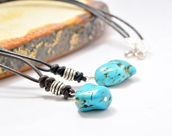 Men's necklace, Leather and stone, Yoga necklace, primitive jewelry, Turquoise rock, leather necklace, gemstone necklace, Men's gift idea