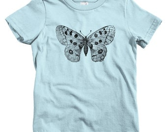 Kids Apollo Mountain Butterfly Tee - Baby, Toddler, and Youth Sizes - Black Print, Butterfly T Shirt, Nature Shirt, Butterflies - 13 Colors