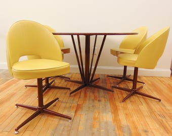 "MCM Dining Table & Chairs Set, 5 Yellow Vinyl Swivel Chairs, Round Faux Marble Table 48"" Diameter, Mid Century Modern Knoll Saarinen Style"