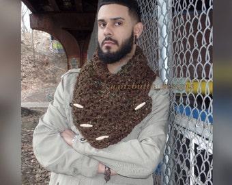 Crochet Men's Cowl, Crochet Neck Warmer, Men's Scarf