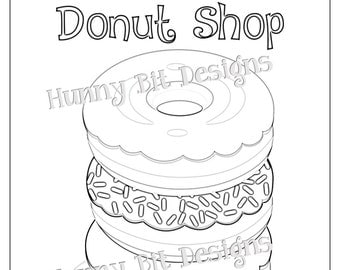 blue and sprinkle coloring pages | Donut shop invite | Etsy