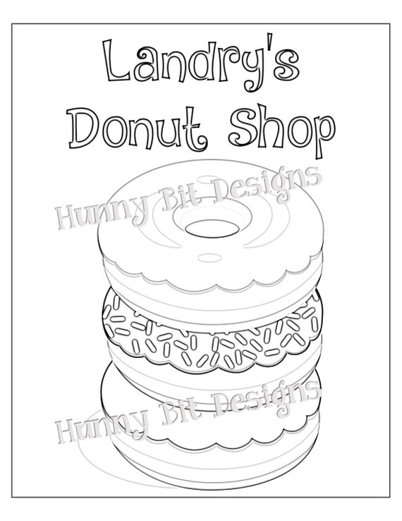 Sprinkles coloring pages ~ Donut Shop Coloring Page 8 x 10 PERSONALIZED Donut Party