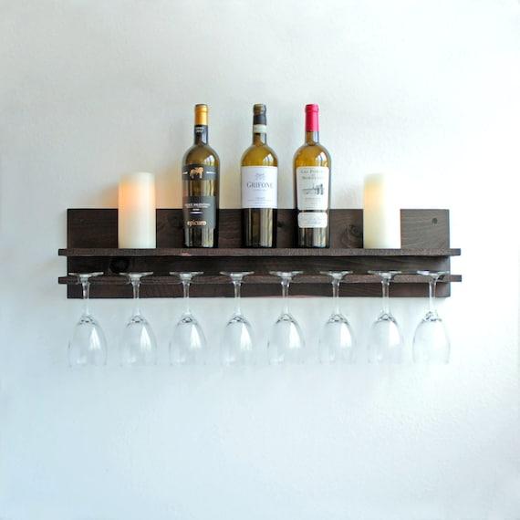 rustic wood wall wine rack shelf hanging wine glass holder. Black Bedroom Furniture Sets. Home Design Ideas